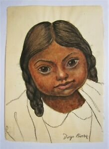 DIEGO RIVERA. Drawing of a Mexican girl in Chalk & w/Colour on rice paper.