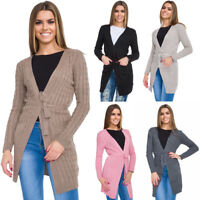 Womens Warm Cardigan Long Sleeve Chunky Cable with Belt & Pockets One Size WA82W