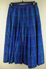 Women's Pendleton Blue Green& Fusia Plaid Long Wool Skirt Shorts Size 8