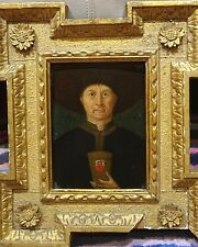 16th Century Netherlandish Old Master Portrait Man Hat Cup Antique Oil Painting
