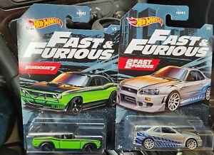 Hot Wheels - 2021 Fast & Furious Silver Nissan Skyline GT-R /Dodge Challenger