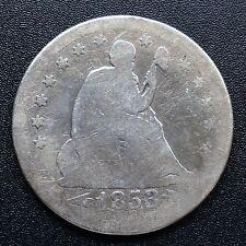 USA 1853 Seated Liberty Quarter dollar 25 cents Philadelphie Argent Rare 2722