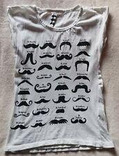 Women's White Black Mustache Design T-Shirt Size 8