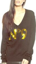 WILDFOX SEQUIN NO 9 V-NECK SWEATER, Black, Size Xs MSRP $178