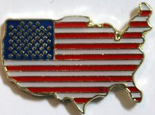 United States American Lapel Pin Tack Military Patriotic Flag in shape of USA