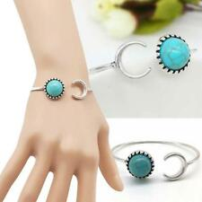 Unique Bohemian Silver Alloy Moon Shape Turquoise Boho Gypsy Cuff Bangle Gift
