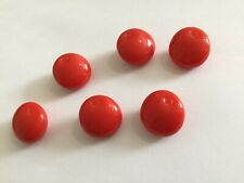 """Set Of 6 Red """"apples"""" Old/vintage Glass Buttons. Fruits. Sewing, Craft,"""