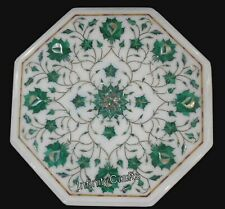 Malachite gemstones Inlaid Marble Coffee Table Top Royal Side Table 12 Inches