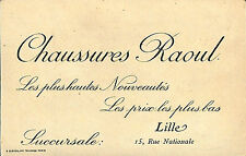 LILLE CARTE POSTALE CHAUSSURES RAOUL FOOTBALL PUBLICITE