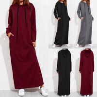 Autumn Women Maxi Dress Long Sleeve Hooded Ladies Casual Hoodies Long Dresses