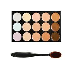 15 Farben Farbe Concealer Palette Schminkset Make Up Set + Oval Make-up Pinsel