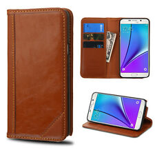 For Samsung Galaxy Note 5 Real Genuine Leather Flip Wallet Case Cover BROWN Lux
