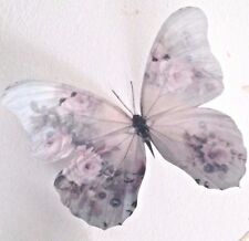 """Shabby Chic Butterflies Cream Pink Rose Buds Home Accessories 5"""" New Hand Made"""