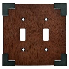 W27029-CHS Rowland Charcoal Ebony & Soft Iron Double Switch Cover Plate
