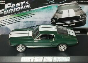 FORD MUSTANG FASTBACK ~1967 ~FAST & FURIOUS ~GREENLIGHT 1/43 SCALE # 86211*USED*