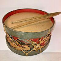 Antique Vintage Original Kids 1930s Toy Drum Horses & Indians with Drum Sticks