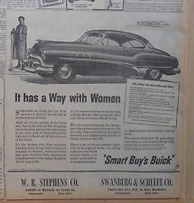 1951 newspaper ad for Buick - It has a Way with Women, car to win woman's heart