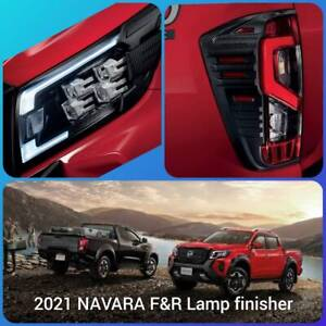 Navara Frontier Front & Rear HEAD LAMP FINISHER 2021 NP300 access Black Kevl New