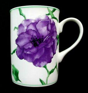 Vintage Rhapsody Bone China Purple Flowers Coffee Tea Mug 4307 Excellent