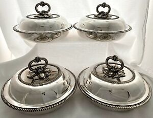 Georgian Set of Four Old Sheffield Plate Circular Entree Dishes & Covers.