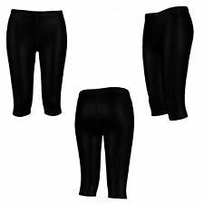 Ladies Womens Black 3/4 Compression Gym Pants Running Skins Leggings