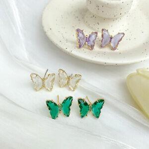 Elegant Glass Crystal Butterfly Earrings Drop Dangle Women Fashion Jewelry Gifts