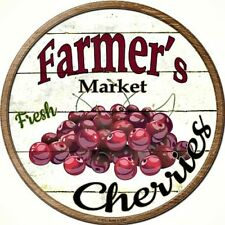"Farmers Market Cherries 12"" Round Metal Kitchen Sign Novelty Retro Home Decor"