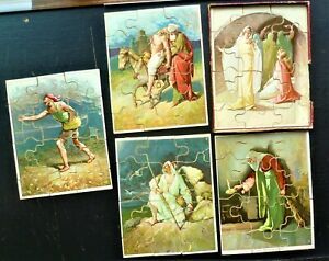 Vintage Wooden Jigsaw Puzzle.  A set of 5 Biblical Parables.