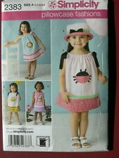 Simplicity Pattern 2383 Toddler Pillowcase Style Dresses and Hat little girls