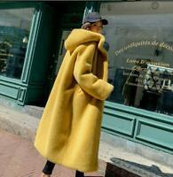 Winter Womens Fluffy Hooded Faux Mink Fur Coat Outwear Thicken Warm Parka Jacket
