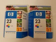 Lot of 2 NEW GENUINE HP 23 Tri-Color Ink Cartridges C1823D Exp Aug 2008