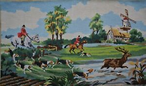 Vintage French Hunting Scene Horse Riders Dogs Deer Needlepoint Completed