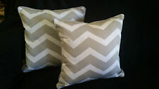 Cotton Cushion Covers Grey White Stripes Hand Made Zig Zag(pair) 40cm