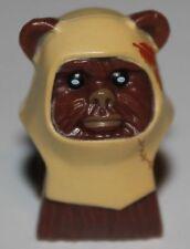 LeGo Star Wars Reddish Brown Minifig Head Ewok Tan Hood Dark Orange Feathers