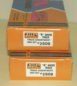 2 Boxes N scale STRAIGHT TRACK ASSORTMENT for Model Train Layouts - Atlas #2509