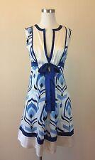 BEBE Women's Silk Lining Blue White Deep V Neck Sleeveless Size SMALL