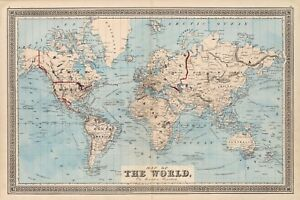 """1876  Map Of The World on Mercator's Projection History Wall Art 11""""x16"""" Poster"""