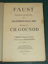 """Partition Chant et Piano """"Faust"""" GOUNOD transc. L. DELIBES"""