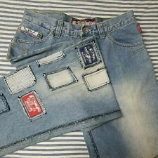 Johnny Blaze  NWT 36 X 33 Relaxed Light Wash Blue Jeans Patchwork