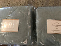 Pottery Barn Set of 2 Linen SIlk Quilted Euro Shams Porcelian Blue NEW