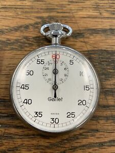 Swiss Made Gallet Vintage Mechanical Wind Up Stopwatch Runs Great