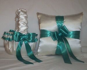 IVORY CREAM SATIN / TEAL GREEN TRIM FLOWER GIRL BASKET & RING BEARER PILLOW