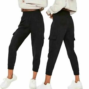 Womens Plain Cargo Combat Pockets Work Trousers Ladies Elastic Waistband Pants
