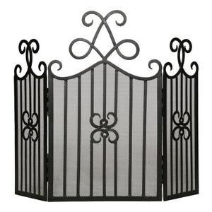 Ornate Vintage Style Antique Black Scroll Fireplace Fire Guard Screen Protector