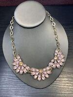 "Pale pink peach rhinestone cluster gold tone statement  18"" ~ Necklace"