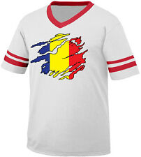 Romanian Flag Colors Romania Ripped Torn Shirt Heritage Men's V-Neck Ringer Tee