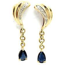 14K Yellow Gold Diamond Sapphire Dangling Earrings