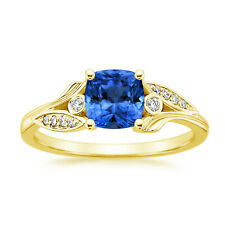 1.65 Ct Genuine Diamond Engagement Ring 14K Yellow Gold Blue Sapphire Size N P