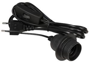 E27 Lampenfassung mit Kabel 3,5m Schalter Stecker Stromkabel Fassung Schwarz