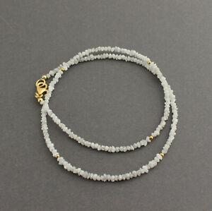 Rohdiamant Necklace Precious Stone White Diamond Natural Gold Plated 925 Silver